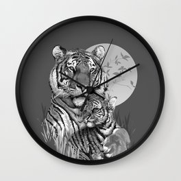 Tiger with Cub (B/W) Wall Clock