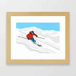 Skier Illustration Framed Art Print