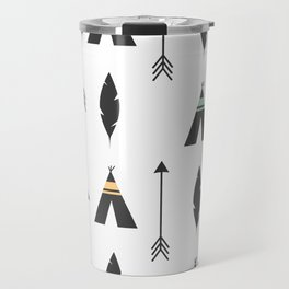 cute feathers, arrows and teepee ethnic tribal seamless pattern illustration Travel Mug
