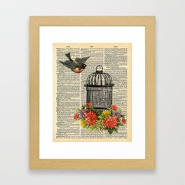 Birdcage on Dictionary Page Framed Art Print