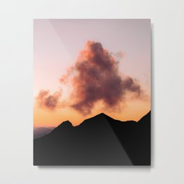 Minimalist Cloud lit up by a Summer Sunset in the Mountains - Landscape Photography Metal Print