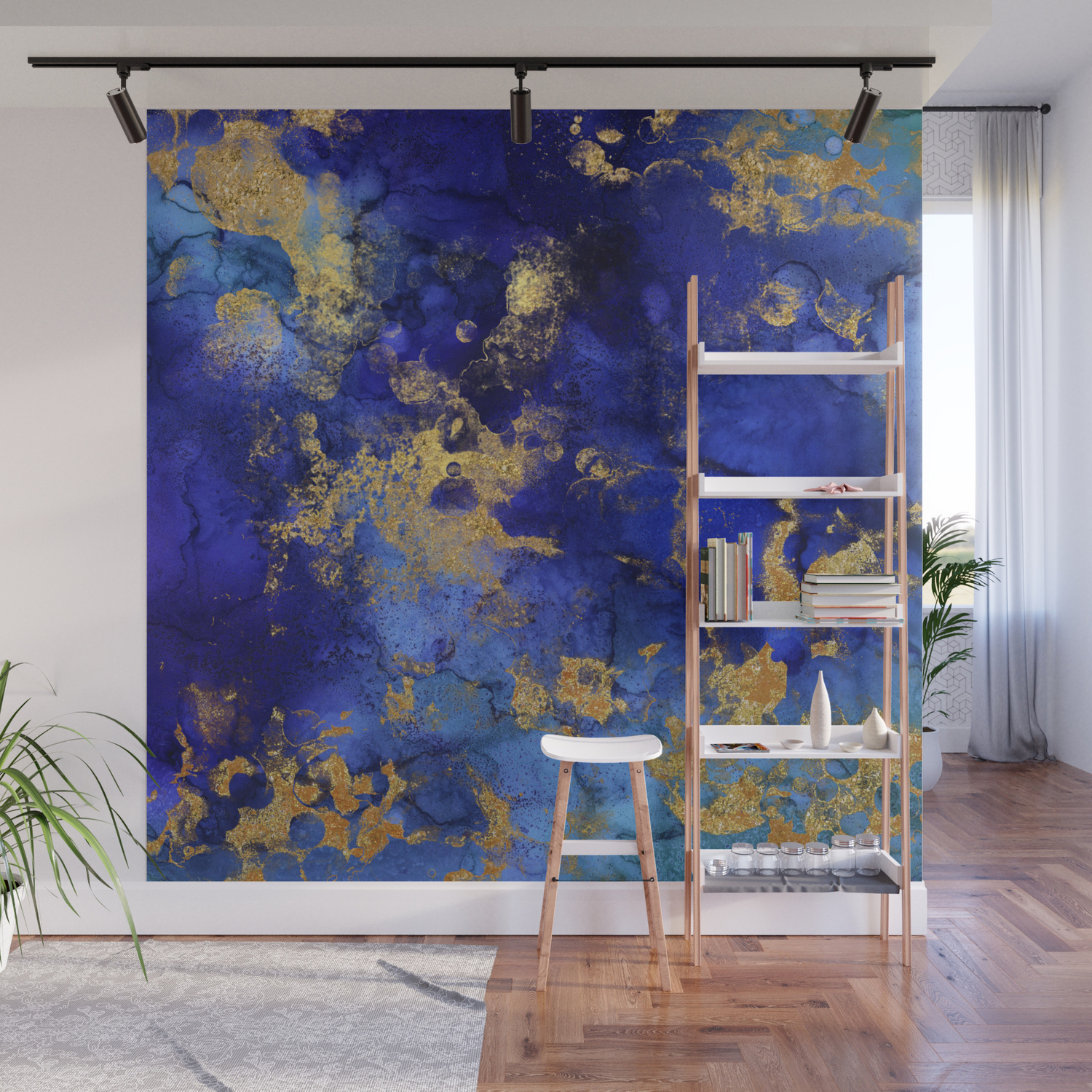 Gold And Blue Indigo Malachite Marble Wall Mural By Originalaufnahme Society6