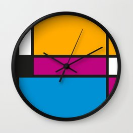Tribute to Mondrian No3 Wall Clock