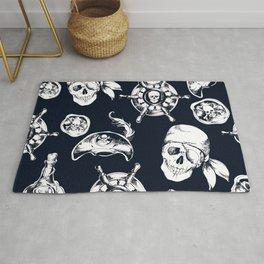 Navy Blue Pirate Pattern Rug