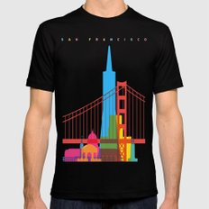 Shapes of San Francisco. Accurate to scale LARGE Mens Fitted Tee Black