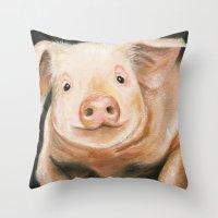 piglet Throw Pillows featuring Pink Piglet by Heather Ann Orlando