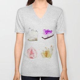 crystals watercolor Unisex V-Neck