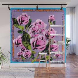 Pink -Black Color  Roses  Lavender Garden Pattern Blue Art Wall Mural