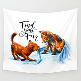 Foxes playing Wall Tapestry