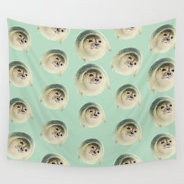 aqua green underwater cute baby sea lion seal Wall Tapestry