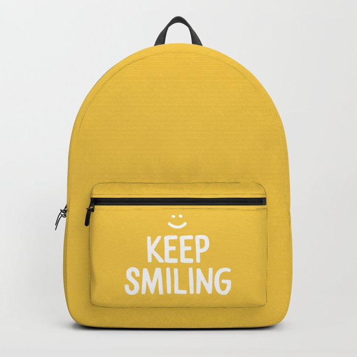 Keep Smiling Quote - Yellow Backpack