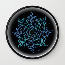 Namaste Mandala Glow - Blue Black Wall Clock