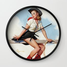 Pin Up Girl Cowgirl with Lasso Wall Clock