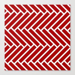 Classic red and white herringbone pattern Canvas Print