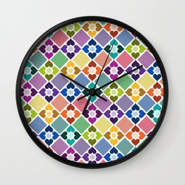 Colorful Floral Pattern II Wall Clock