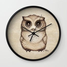 """""""The Little Owl"""" by Amber Marine ~ Graphite & Ink Illustration, (Copyright 2016) Wall Clock"""