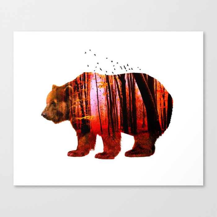 Bear in red forest Canvas Print