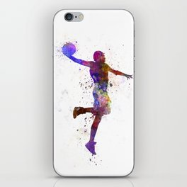 young man basketball player one hand slam dunk iPhone Skin