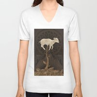 vegetable V-neck T-shirts featuring Vegetable Lamb of Tartary by Jessica Roux
