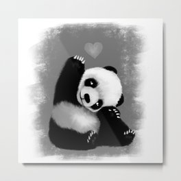 Panda Love (Monochrome) Metal Print
