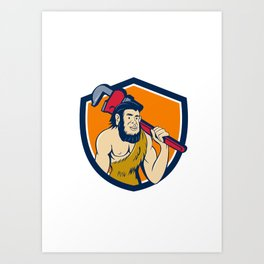 Neanderthal CaveMan Plumber Monkey Wrench Shield Cartoon Art Print