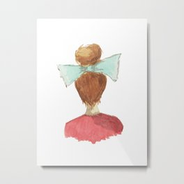 lady in a bow, blonde Metal Print
