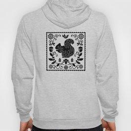 Woodland Folk Black And White Squirrel Tile Hoody