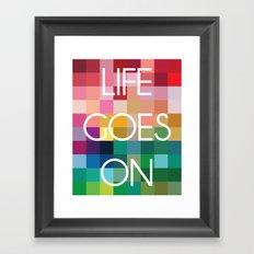 Life Goes On - Colorful Pixel Color Blocks Framed Art Print