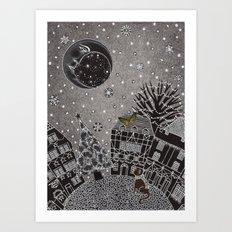 'Twas a Moonlit Winter Night Art Print