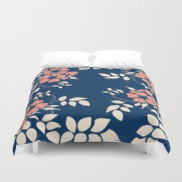 FLORAL IN BLUE AND CORAL Duvet Cover