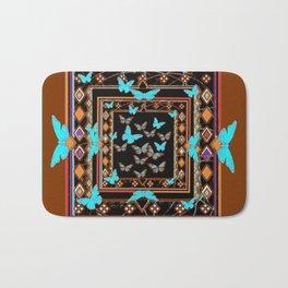 Turquoise-Chocolate Brown Western Art Bath Mat