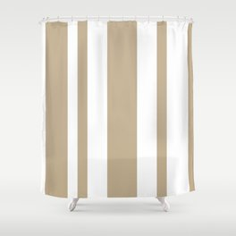 Mixed Vertical Stripes - White and Khaki Brown Shower Curtain