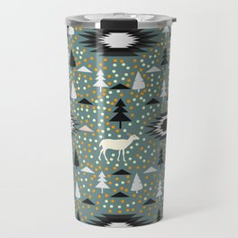 Winter pattern with deer, bears and dots Travel Mug