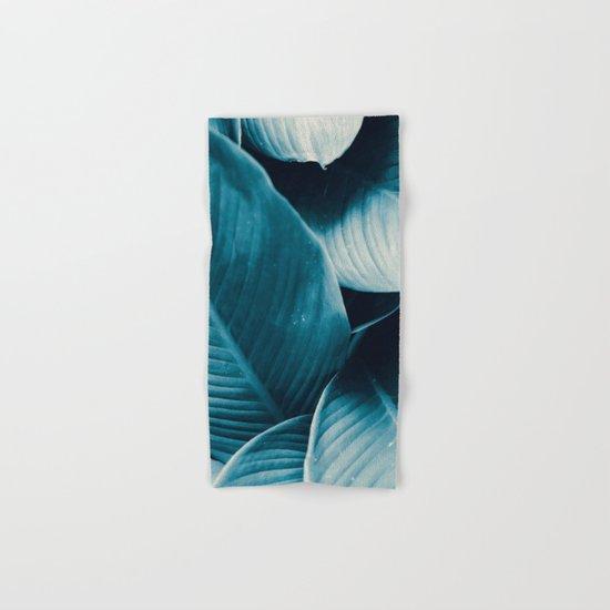 Blue Tropical Leaves Hand & Bath Towel