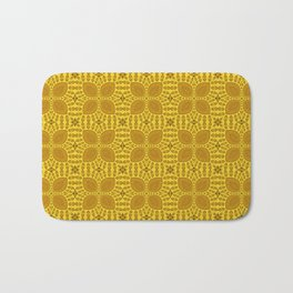 Geometric Yellow Floral Pattern Bath Mat