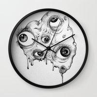 the thing Wall Clocks featuring Thing by Isabel Peace