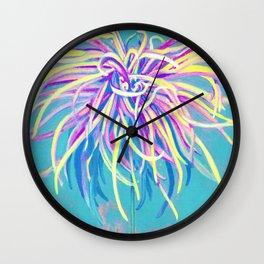 Bright Blue Pop Art Chrysanthemum Wall Clock