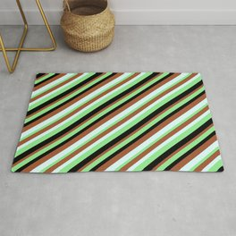Light Green, Black, Sienna, and Light Cyan Colored Lined Pattern Rug