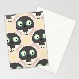 Cute pattern with funny skulls and flowers Stationery Cards