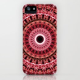 Mandala in red and white colors iPhone Case