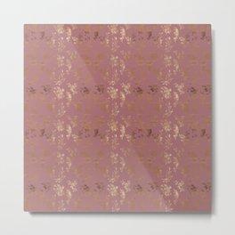 Pastel pink faux gold elegant wild flowers pattern Metal Print
