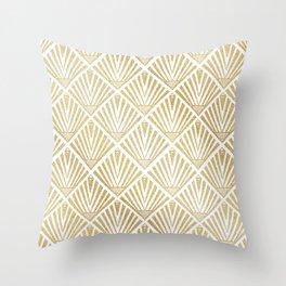 Elegant golden diamond palm art deco design Throw Pillow