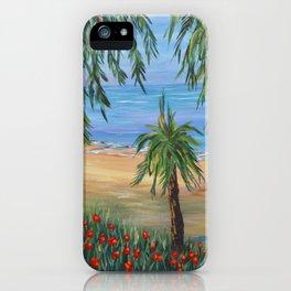 Heading to The Beach 2, Impressionism tropical beach art iPhone Case