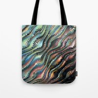 novelty Tote Bags featuring Turbulence by Moody Muse
