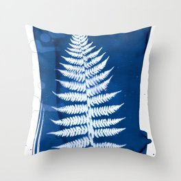 Fern I - Cyanotype Throw Pillow