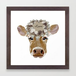 Cow with Love Hat Framed Art Print