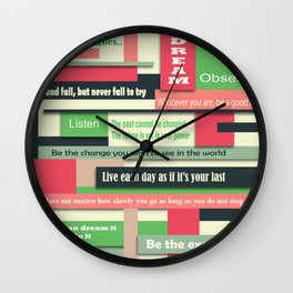 Motivational life quotes illustration Wall Clock