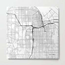Tacoma Map, USA - Black and White Metal Print