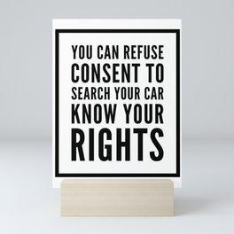 Know Your Rights: Auto Search (English) Mini Art Print