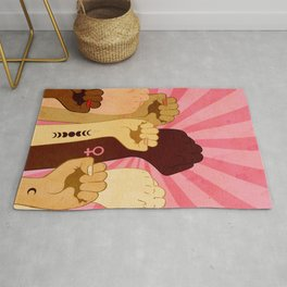 Female hands with fist raised up, retro style illustration Rug